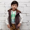 Kids Stylish Apparel Soft Fabric Wear Striped Vest Zipper Thicken Coat