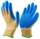 Crinkle latex coated polycotton glove
