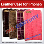 Crocodile Pattern Magnetic Flip Stand Leather Case for iPhone 5 With Card Slot