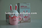 Pink lovely USB&battery rabbit cartoon cup led lamp