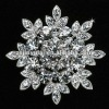 Latest 925 Sterling Silver Jewelry of Lady Clear CZ Diamond Edelweiss Brooch