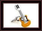 Novelty guitar shaped enamel cufflinks