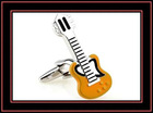 Novelty guitar shaped enamel cufflinks