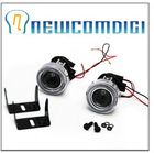 Newcomdigi HID Ready Projector Fog Lights Lamp Lens w/ Halo CCFL Angel Eyes 2pcs