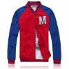Factory price red raglan sleeve baseball jacket for men