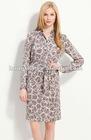 Long Sleeve Print Silk Shirtdress HGS190