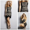 MC1175 Sexy Lace Sheath Strapless Black Short Cocktail Dress