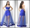 DR1072 Sexy A-Line Spaghetti Strap V-Neck Satin Beaded Belt Backless Blue See Through Prom Dresses