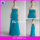 A-Line/Princess Sweetheart Floor Length Pleated Bodice Chiffon Turquoise Bridesmaid Dress