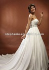 (A6192)Guangzhou Stephanie Sweetheart Ruffled A-line with Tail Chiffon Wedding Dress 2013