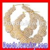 Gold Bamboo Earrings with pearl diamond Wholesale- BW6231