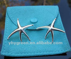 2012 wholesale fashionable brand silver starfish earrings