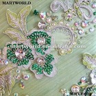 Handmake embroidery flower designs on organza evenning dress /lace embroidery design(MWEF-004)