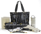 Black faux leather baby changing bag