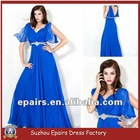 LED331 Very Sexy Royal Blue Beaded V Neck Chiffon Evening Dress with Sleeves