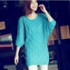 Charming Batwing Sleeve Pure Color Long Sweater Green QM12092713-2