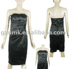 off-shoulder cotton-polyester satin wrinkles evening dress