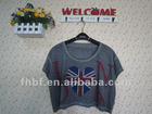 Lady's O-neck vintage dirty wash T-shirt