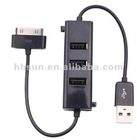 Black 3 Port Hub USB 2.0 Hub Charger Data Cable for iPhone 3G 3GS 4G 4S ipad 1 2 3