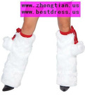 Faux Fur Leg Warmer features Stretch Velvet or Foil Tie Band with Pom Pom