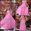 Free Shipping Pink One Shoulder Chiffon Long Evening Dresses
