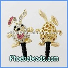 Wholesale Fashion Pink Crystal Pave Rabbit Dustproof Earphone Jack Plug Headphone Dust Stopper Ear Cap 3.5mm MDP-M07B