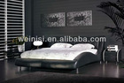 Bed room furniture, modern double bed design, genuine leather bed F6020