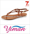 2013 hot sell fashion woman brown PU rubber sole sandal shoe