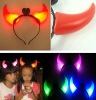 Wholesale FLASHING DEVIL HORNS - Halloween LED Flashing Evil Horn Headband / LED Party Favor Flashing Light Up Headband Dress Up