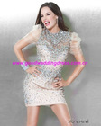 2012 New Style Elegant Round Neck Sequins Organza Mini Short Cocktail Party Dresses