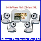 "Digital 2.4GHZ 4CH Quad Wireless 7"" CMOS Night Vision DVR Security Baby Monitor SE016"