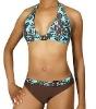 Cocoa printing with metal D-ring women bikini swimwear