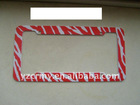 Hot Red Zebra funny license plate frames