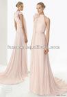 Refined Chiffon High Collar Train Bridesmaid Dress