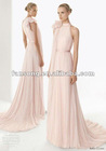 Refined Chiffon High Collar Train Bridesmaid Dress