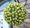 Artificial 25cm Plastic Yellow Rose Flower Ball Garden Decoration ---- Largest factory