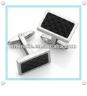 Rectangle Polished Silver Cuff Links