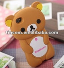 2012 new hot 3d cute silicone rilakkuma case for iphone 4 4s