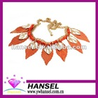 2012 hot-sale orange color gold silver leaf necklace