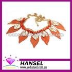 2012 hot-sale orange color gold silver leaf necklace