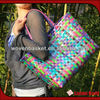 100%handmade colorful shiny plastic woven bags for shopping