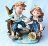 pretty resin country boys&girls fishing figurine