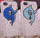cute couple dolphin bling flat cell phone housing for iphone 4/4s cartoon animal mobile phone case for iphone 4/4s 306