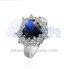Hot 18k white gold plated blue stone ring LKN18KRGPR218