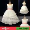 2012 Selling best long lovely white scalloped flower girl dresses