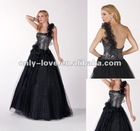 Floral gorgeous one shoulder sparkling shiny tulle skirt Tulle flower strap on the waistline prom dress OLP020