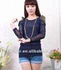 Shining Paillette Decorated Shoulder Long Sleeve T-shirt Deep Blue NX12092509-2