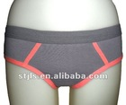 dark grey 95%cotton 5% spandex young girls bikini lingerie with elastic waistband & pink bindings at hems