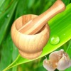 bamboo mortar and pestle, garlic bowl