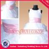 FGD013 real scoop pink belt ruffle skirt flower girl dress for weddings